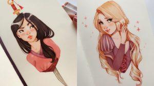 Los fan art de princesas Disney de Ana Marija