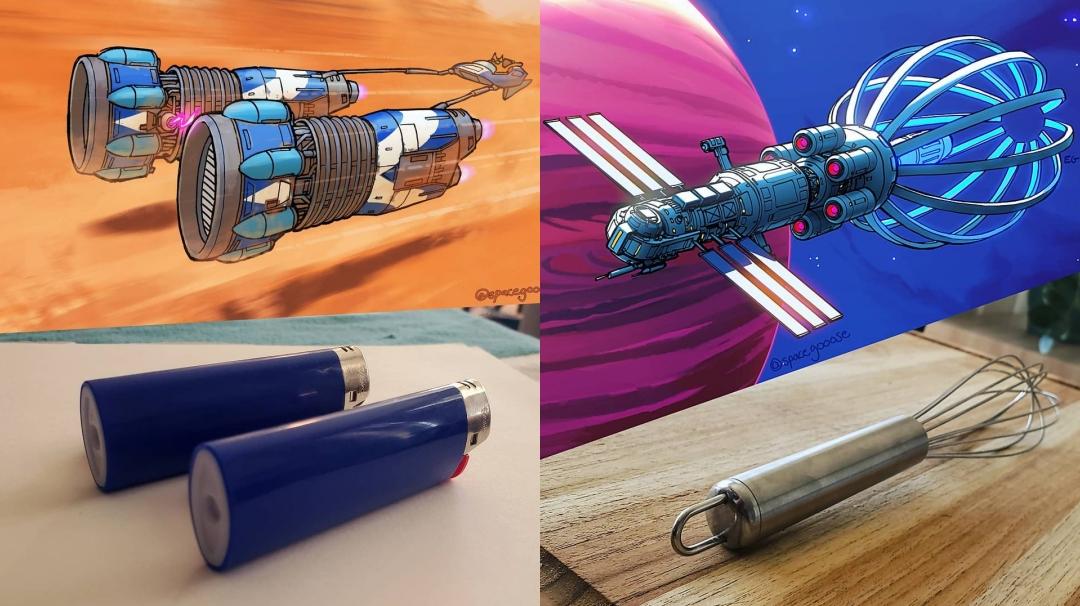 Artista convierte objetos cotidianos en naves espaciales