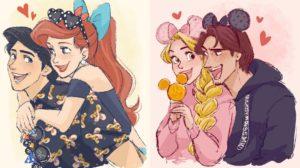 Las parejas de Disney si fueran a Disneyland