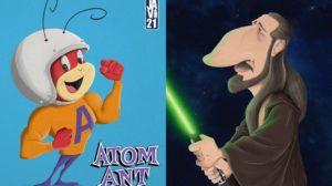 caricaturas de personajes de la Cultura Pop