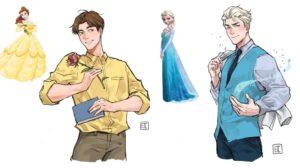 Las princesas Disney como hombres