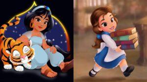 Las princesas Disney como niñas
