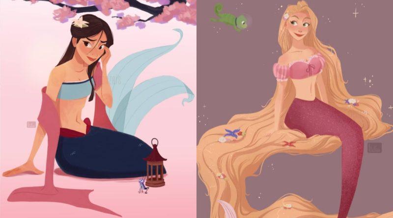 ¿Qué pasaría si las princesas de Disney fueran sirenas?