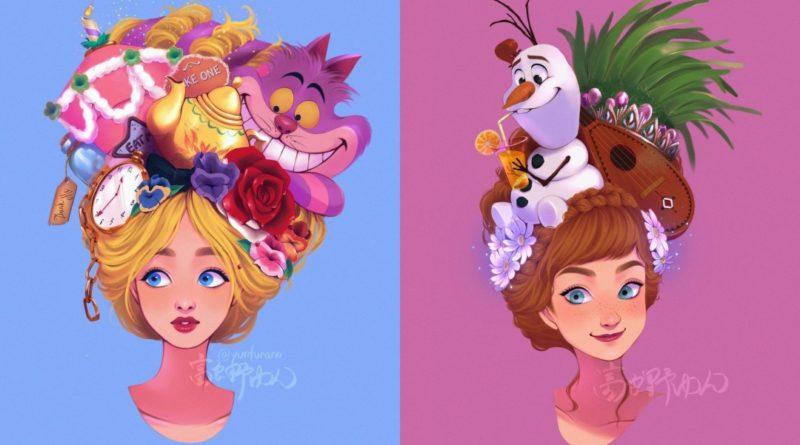 Iconos de Disney en la cabeza de las princesas