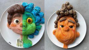 Los personajes de Luca hechos con comida