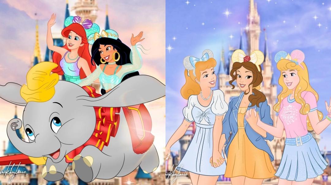 Las princesas de Disney si fueran a DisneyLand