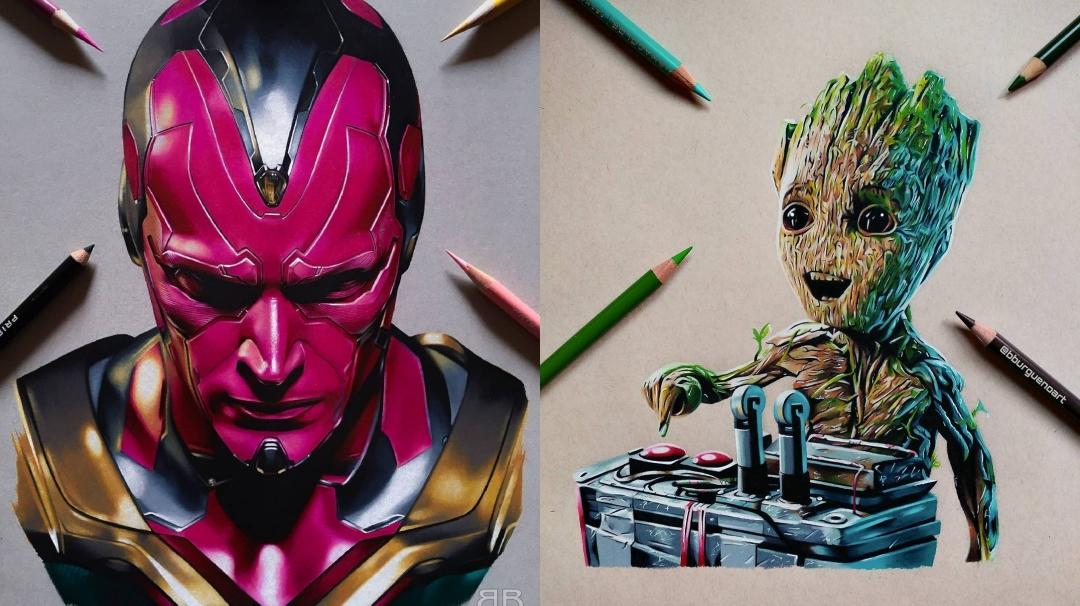 ilustraciones sobre Marvel de Borja Burgueño