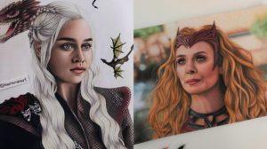 Ilustraciones realistas de personajes de la Cultura Pop