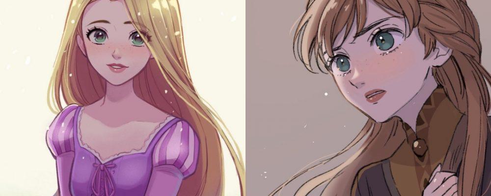 Las princesas de Disney en versión anime