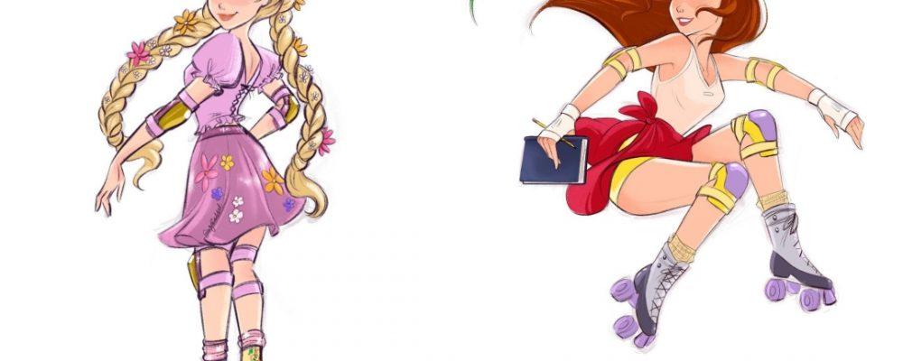 Así serían las princesas de Disney con patines
